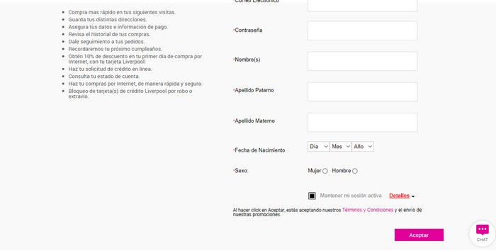 formulario de registro liverpool