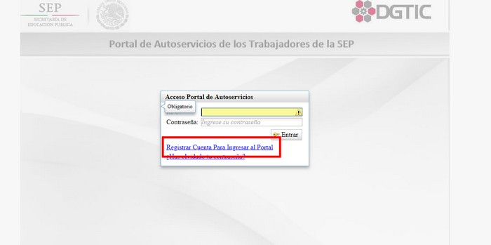 registrar sistema SEP