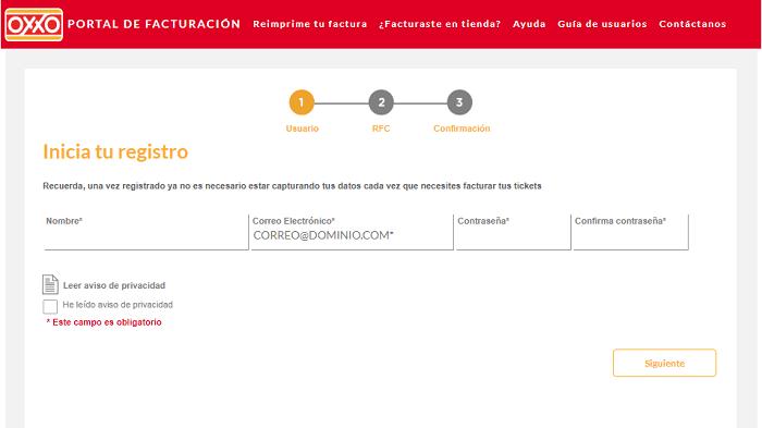 Registro de usuarios en OXXO