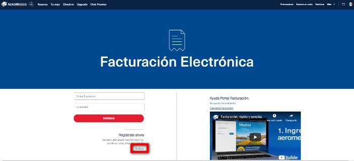 ingreso al registro de facturacion
